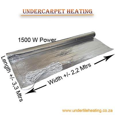 Undercarpet heating 1500 W (2,2X3,3 Mtrs)